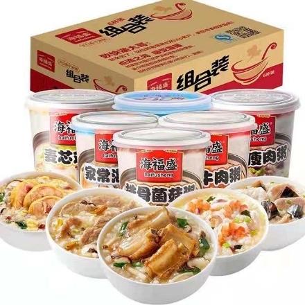 Picture of Haifusheng porridge,flavor(Homemade seafood porridge, stewed beef porridge, ribs and mushroom porridge, preserved egg and lean meat porridge, deep-sea fish porridge, wheat core chicken porridge) 38g,1 barrel, 1*24 barrel