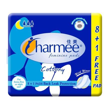 圖片 Charmee  Cottony Sanitary Napkin for Heavy Flow or Night Use  with Wings 8 + 1 Pad, CHA39A