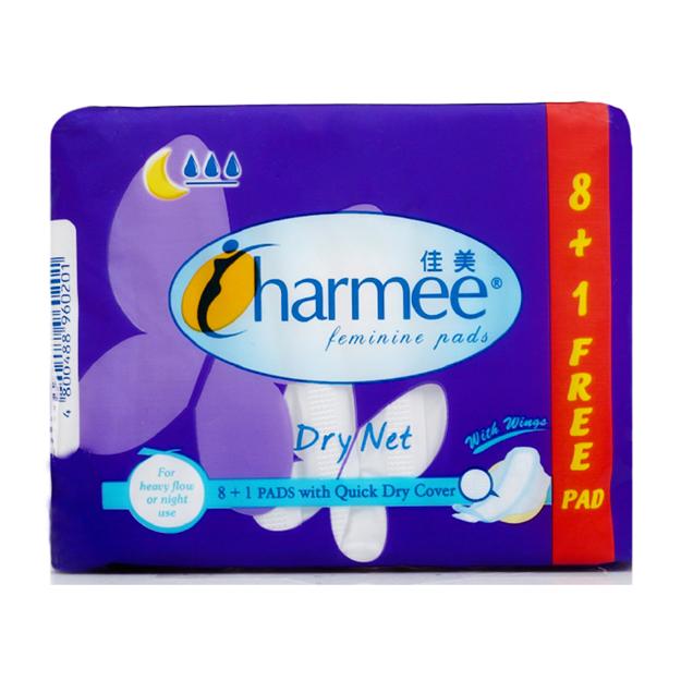 圖片 Charmee Dry Net Sanitary Napkin for Heavy Flow or Night Use  with Wings 8 + 1 Pad, CHA117A