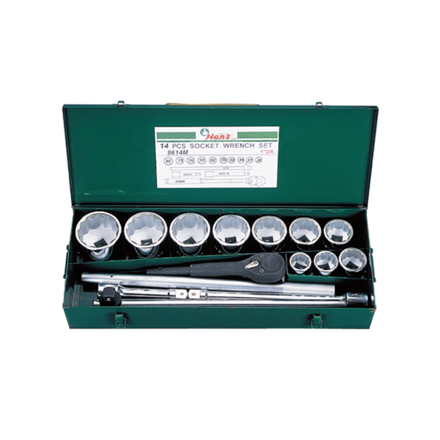 """Picture of Hans 1"""" Drive 14 Pcs. Socket Wrench Set-Metric Size, 8614-2M"""