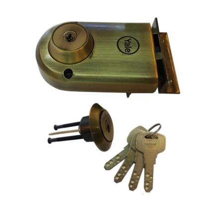 圖片 Yale Vertibolt Double Cylinder Dimple Key Antique Brass and Satin Nickel, YLHVB100DCDKBAB