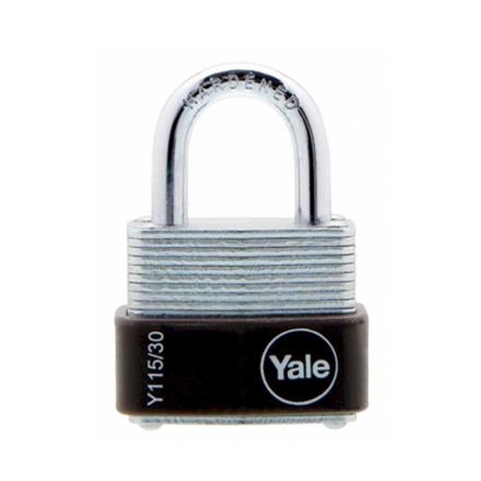 圖片 Yale Padlock Laminated Steel Zinc 30mm 18mm Shackle, YLHY115/30/117/1