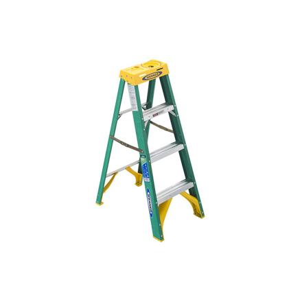 圖片 Jinmao 4 Step Fiberglass 5' Step Ladder 225 lbs Green, JMFM22104II