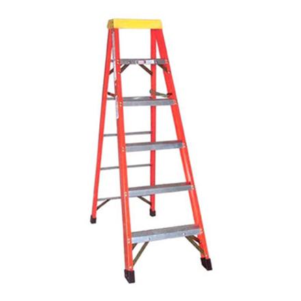 圖片 Jinmao 5 Step Fiberglass 6.5' Household Ladder with Big Aluminum Tray Orange 300 lbs, JMFM11105IA